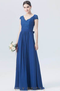 Cap Sleeve V-Neck Lace Chiffon Formal Bridesmaid Dress With Ribbon