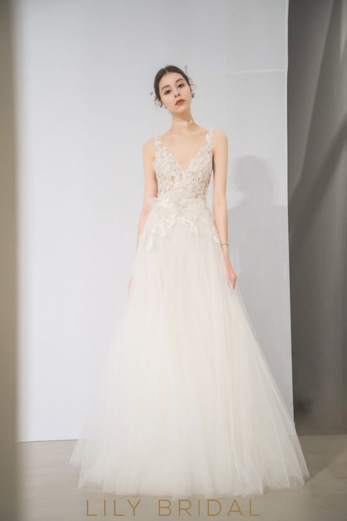 ivory tulle floral appliques dress