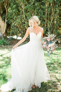 Cap Sleeves Sweetheart Organza Lace A-Line Bridal Wedding Gowns