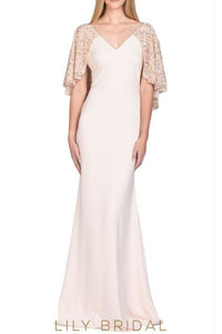 Blushing Pink Charmeuse Sequinned V-Neck Mermaid Mother of the Bride Dress