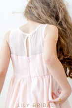 A-Line Knee-Length Satin Flower Girl Dress With Illusion Top