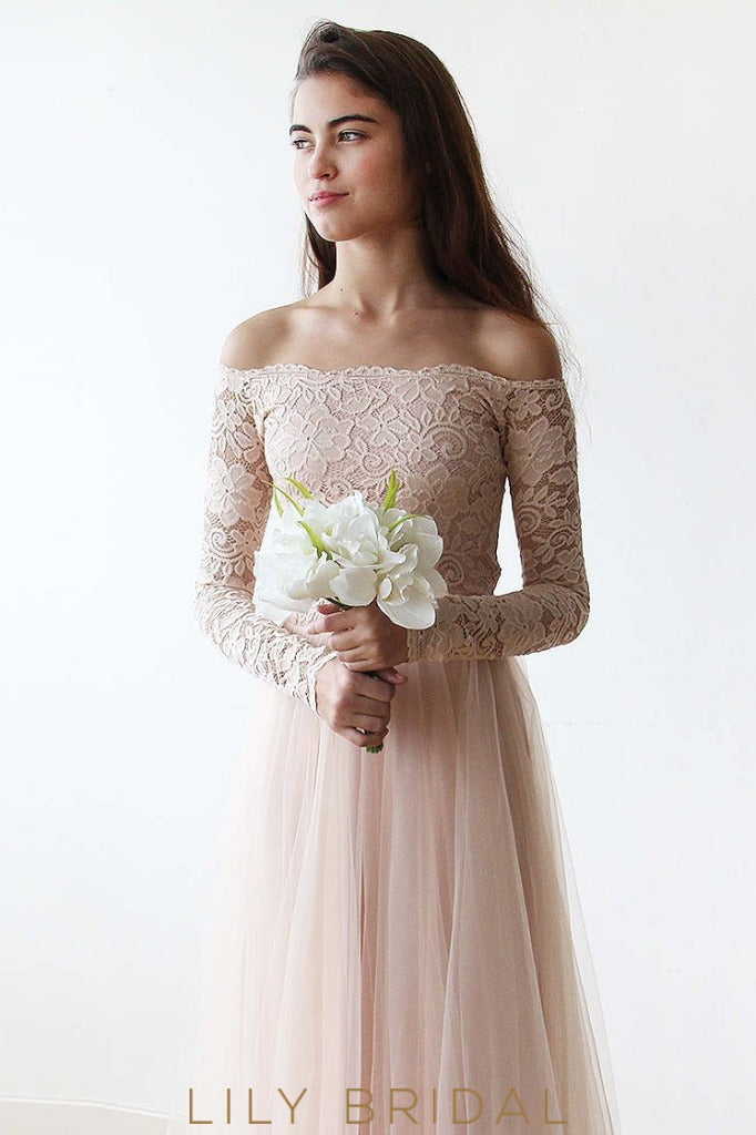A-Line Floor-Length Tulle Bridesmaid Dress With Long Sleeve Off-The-Shoulder Lace Bodice
