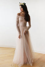 A-Line Floor-Length Tulle Bridesmaid Dress With  Off-The-Shoulder Lace Bodice