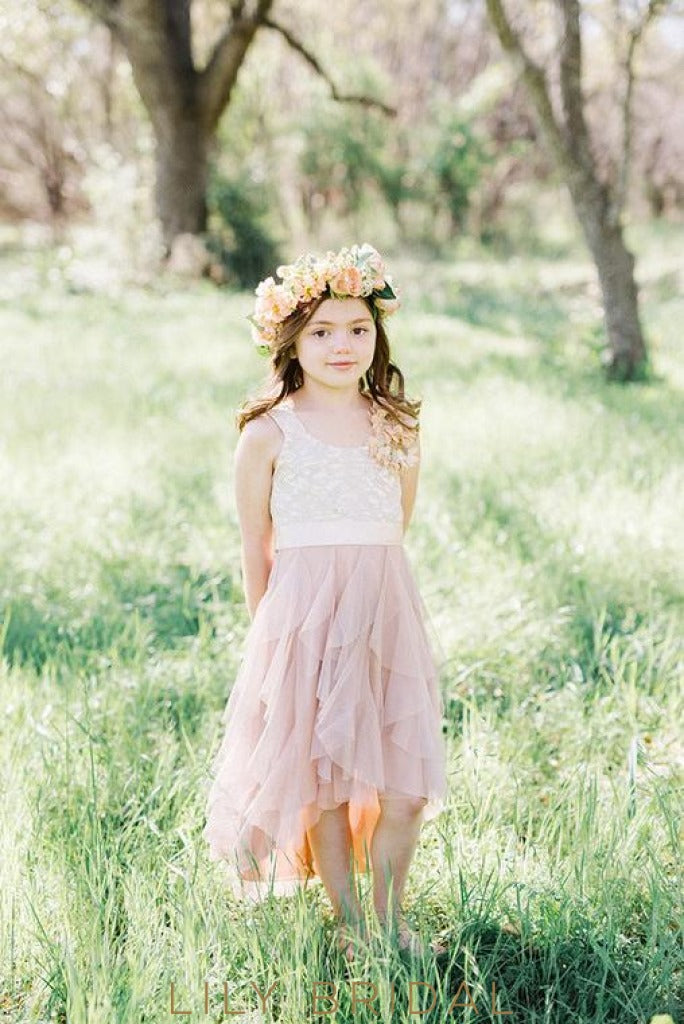Champagne Lace Tulle Sleeveless A-Line Flower Girl Dresses with Beaded Satin Sash