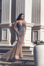 Champagne Mermaid Tulle Sequinned Prom Dress with Sweetheart Neckline