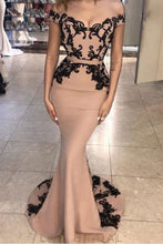 Dusty Rose Off-The-Shoulder Elastic Woven Satin Prom Dress With Black Applique