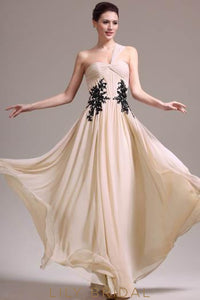 Champagne One-Shoulder A-Line Floor-Length Chiffon Evening Dress With Black Applique