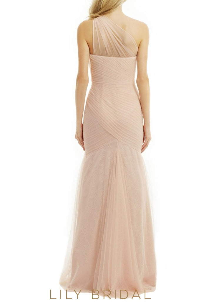 Tulle Illusion One Shoulder Sleeveless A-Line Bridesmaid Dress