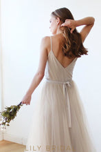 Tulle Deep V-Neckline Spaghetti Strap Floor Length Bridesmaid Dress With Sash