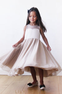 Sheer Neck Keyhole Back A-Line Ankle-Length Chiffon Flower Girl Dress