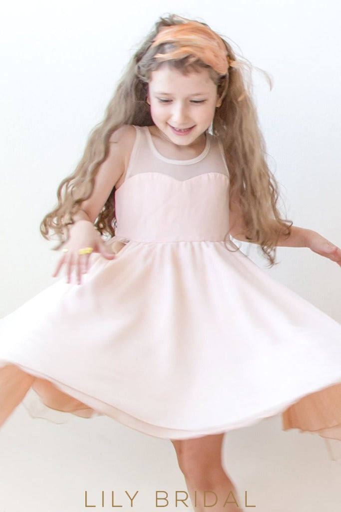 Blushing Pink A-Line Knee-Length Satin Flower Girl Dress With Illusion Top