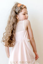 Blushing Pink A-Line Knee-Length Flower Girl Dress With Illusion Top