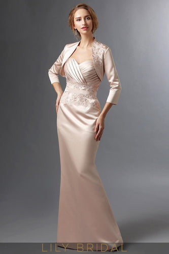 Champagne Satin Sweetheart Mermaid Mother of the Bride Dress With Lace
