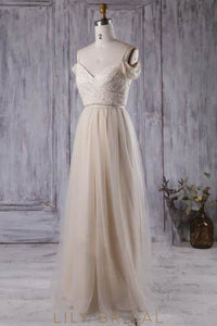 Champagne Spaghetti Strap Long Bridesmaid Dress With Ruched Bodice