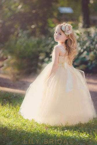 Champagne Straight Across Neck Strap Ball Gown Flower Girl Dress With Sash