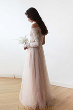 A-Line Tulle Bridesmaid Dress With Long Sleeve Off-The-Shoulder Lace Bodice