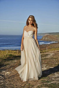 Champagne Tulle Floor-Length Beach Wedding Dress With Lace Bodice