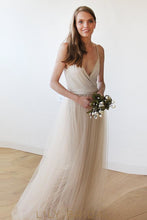 Champagne Deep V-Neckline Spaghetti Strap Floor Length Bridesmaid Dress With Sash