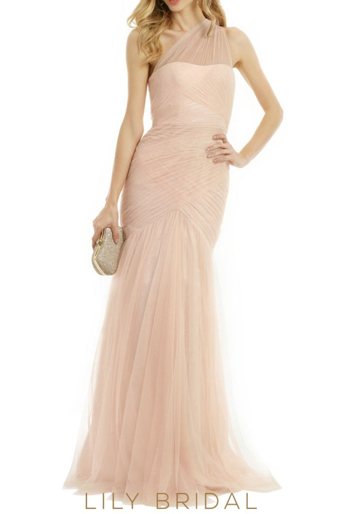 Champagne Tulle Illusion One Shoulder Sleeveless A-Line Bridesmaid Dress