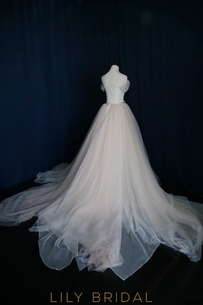 simple ball gown lace up tulle off the shoulder wedding dress