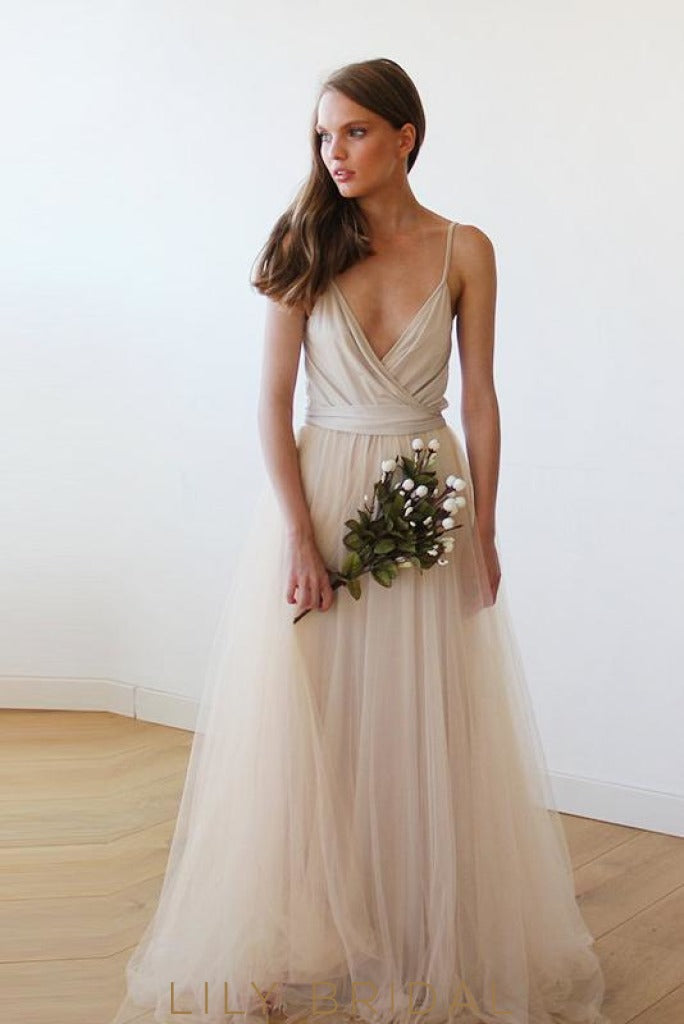 Champagne Tulle Deep V-Neckline Spaghetti Strap Bridesmaid Dress With Sash