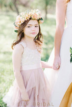 Champagne Tulle Sleeveless A-Line Flower Girl Dresses with Beaded Satin Sash