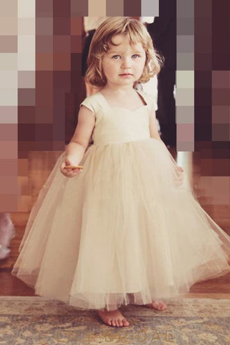 fb05f25b4 Sweetheart Cap Sleeve Floor-Length Ball-Gown Tulle Flower Girl Dress With  Sash