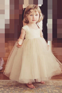 Sweetheart Cap Sleeve Floor-Length Ball-Gown Tulle Flower Girl Dress With Sash
