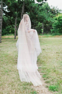 Chapel Length Hand Cut Edge Ivory Drop Veil
