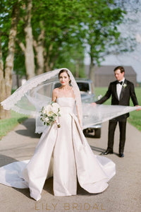 Chapel Length One-Tier Wedding Veil With Delicate Scalloped Lace Edge