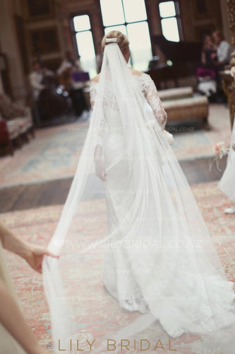 Chapel Length Silk Effect One-Tier Bridal Veil