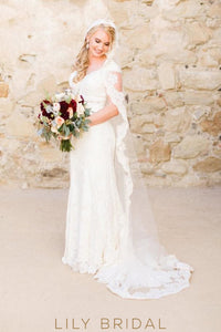 Chapel Length Single Layer Sheer Bridal Veil With Pretty Lace Edge