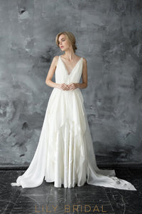 Boho A-line Ivory Chiffon V-Neckline Sleeveless Wedding Dress With Sweep Train
