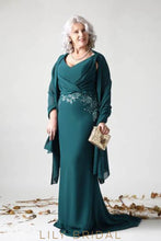 Applique Beaded V-Neck Sleeveless Long Solid Sheath Mother of the Bride Dress with Shawl