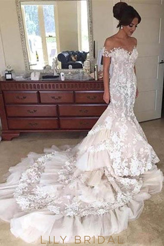 Applique Illusion Off Shoulder Short Sleeves Mermaid Wedding Gown with Chapel Train