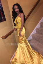 Elegant Applique Illusion One Shoulder Sleeveless Long Solid Mermaid Prom Dress