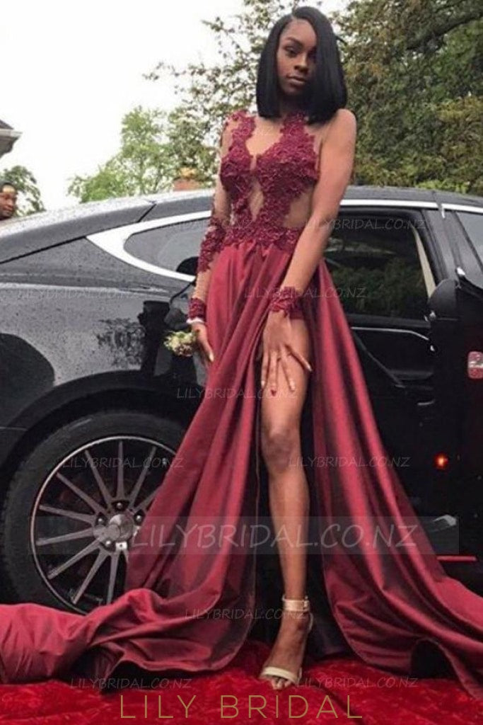 Chic Applique Illusion Sheer Neck Long Sleeves Long Solid Pleated Split Prom Dress