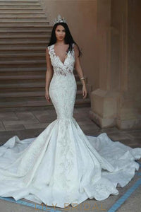 Applique Illusion Sheer Neck Sleeveless Long Mermaid Wedding Gown With Chapel Train
