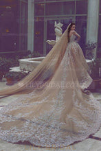 Applique Illusion Sheer Neck Long Sleeves Long Organza Ball Wedding Gown with Cathedral Train