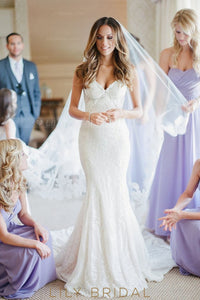 Beaded Lace Straps Sleeveless Backless Long Mermaid Wedding Gown with Court Train