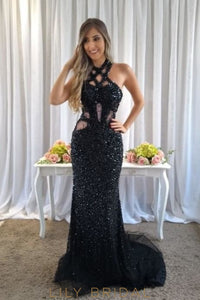 Beading Rhinestone Illusion Jewel Neck Sleeveless Open Back Long Black Prom Dress