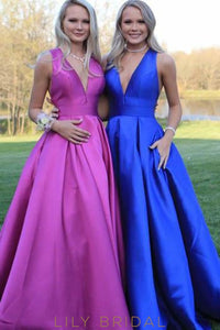 Chic Bow-knot Deep V-Neck Sleeveless Open Back Long Solid Evening Dress