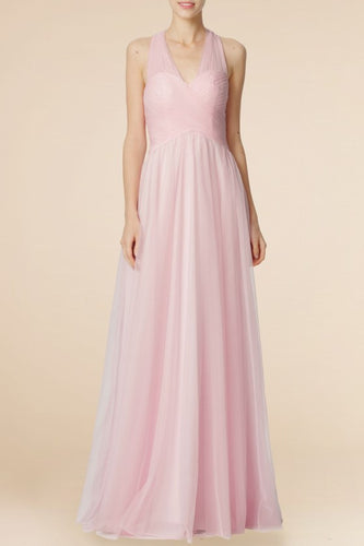 Elegant Bridesmaid Dress V-Neck Sleeveless Floor-Length Open Back Wedding Guest Dress