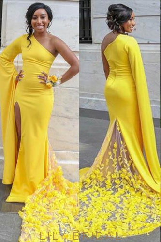 Handmade Flower One Shoulder Zipper-Up Long Solid Slit Evening Dress with Court Train