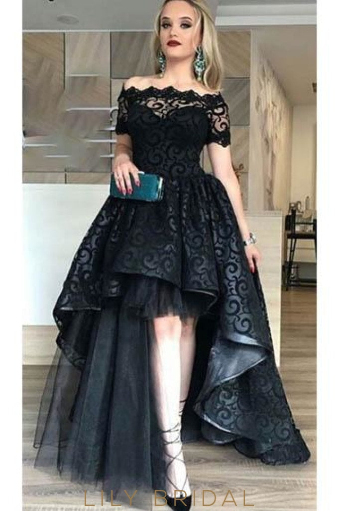 Elegant Illusion Off Shoulder Short Sleeves High-Low Solid Evening Dress
