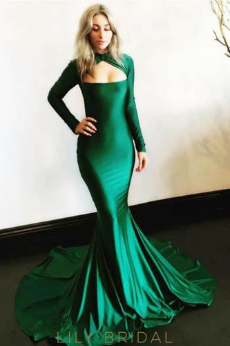 Key-Hole High Neck Long Sleeves Long Stretch Mermaid Prom Dress with Sweep Train