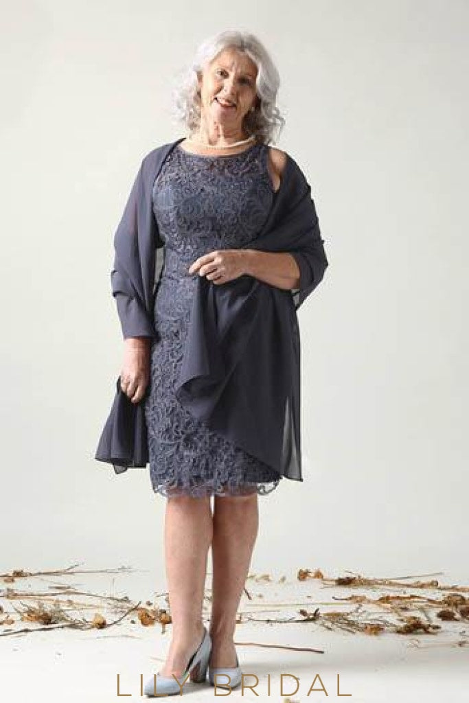 Lace Bateau Neck Sleeveless Zip-Up Knee-Length Sheath Mother of the Bride Dress with Shawl
