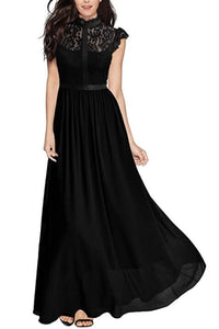 Lace Illusion High Neck Cap Sleeves Floor-Length Sheath Mother Of The Bride Dress