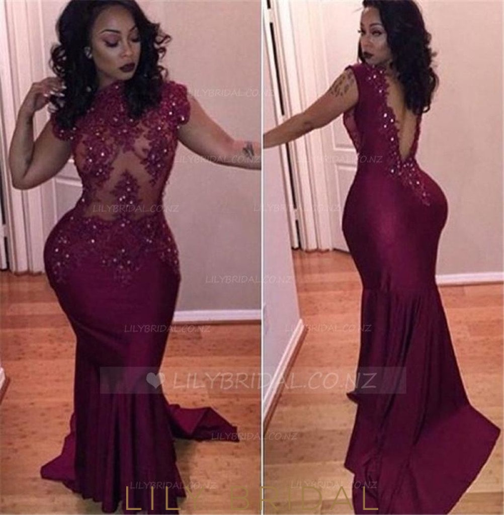 Lace Illusion High Neck Cap Sleeves Backless Long Solid Elastic Mermaid Evening Dress