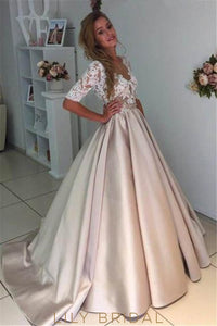 Lace Illusion Scalloped Edge Neck Half Sleeves Long Wedding Gown With Sweep Train